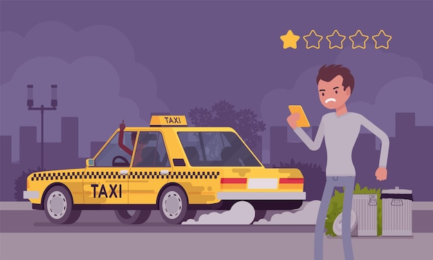 Macchina cattiva e autista scortese nel sistema di app di valutazione dei taxi