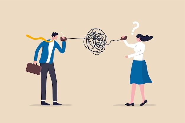 Cattiva comunicazione, incomprensione creano confusione nel lavoro, comunicano male un messaggio poco chiaro e il concetto di informazione, l'uomo d'affari che parla nel caos disordinato, la linea telefonica aggrovigliata rende gli altri confusi.