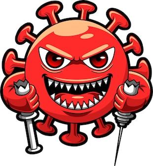 Colore rosso del virus corona cattivo, illustrazione di disegno del carattere della mascotte che fa rottura ipodermica