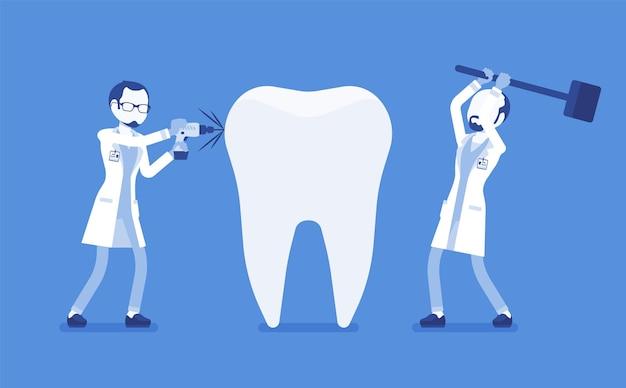 Dentisti cattivi che danneggiano il dente sano gigante medici professionisti non qualificati di stomatologia dannosa che provoca lesioni, problemi dentali, trattamento clinico pericoloso. illustrazione vettoriale, personaggi senza volto