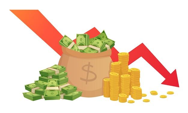 Cattivo grafico delle finanze. perdita di risparmi finanziari, programma di inflazione e perdita di denaro
