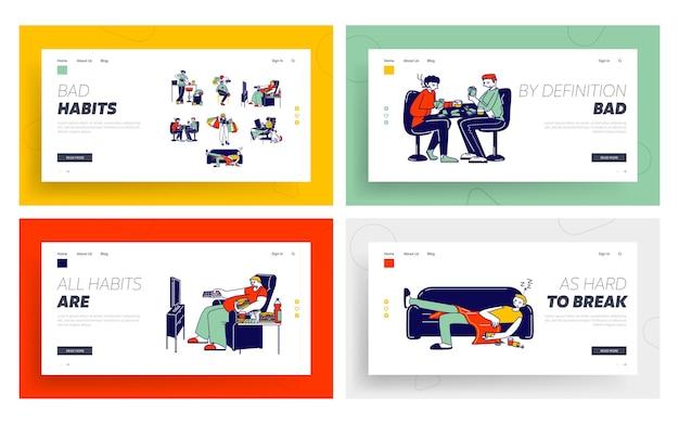 Set di modelli di pagina di destinazione di cattive abitudini.