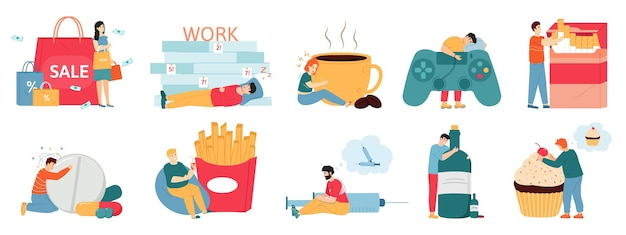 Cattive abitudini. dipendenze da persone, alcolismo, fumo, shopping e eccesso di cibo.