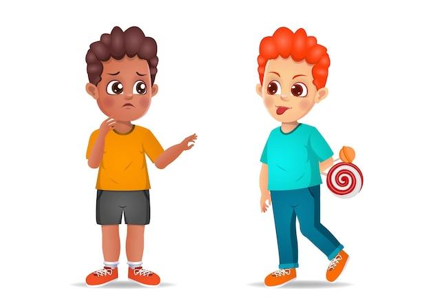 Il ragazzo cattivo mostra la sua faccia smorfia al suo amico. isolato su bianco