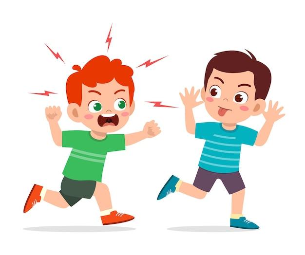 Il ragazzino cattivo corre e mostra la faccia di smorfia all'illustrazione di un amico arrabbiato
