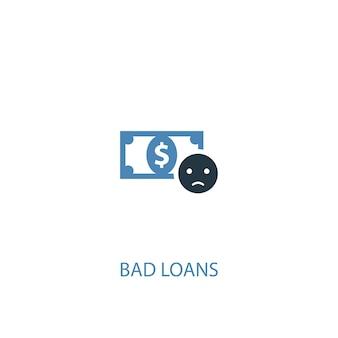 Concetto di crediti inesigibili 2 icona colorata. illustrazione semplice dell'elemento blu. disegno di simbolo di concetto di crediti inesigibili. può essere utilizzato per ui/ux mobile e web