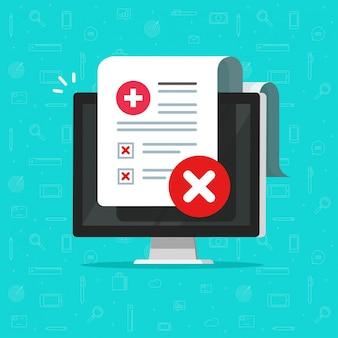 Cattivo controllo medico o documento di diagnosi online sull'illustrazione piana del fumetto dello schermo di computer Vettore Premium