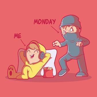 Illustrazione di caratteri del lunedì cattivo. motivazione, successo, concetto di design positivo.