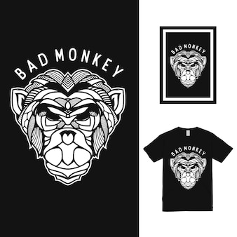 Design della maglietta bad monkey