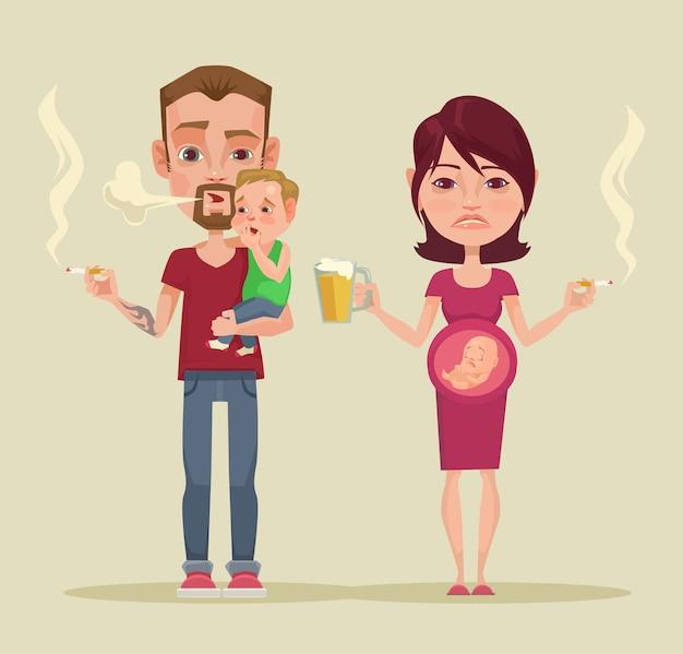 Cattivi genitori. illustrazione piatta