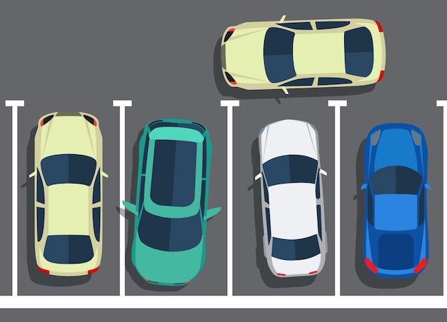 Parcheggio pessimo. bloccare le auto. vista dall'alto di automobili. illustrazione vettoriale in design piatto