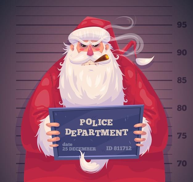 Bad santa nel dipartimento di polizia. poster di sfondo cartolina d'auguri di natale. illustrazione vettoriale. buon natale e felice anno nuovo.