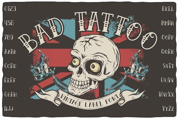 Illustrazione di carattere etichetta tatuaggio cattivo