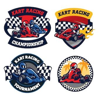 Insieme di disegno del distintivo dell'illustrazione piana di corsa di kart