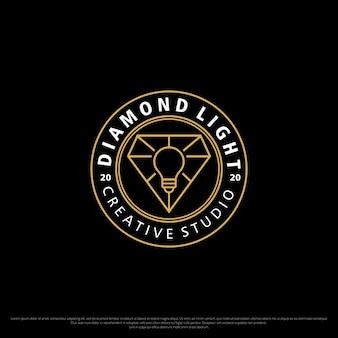 Concetto di logo monoline dello studio creativo della luce del diamante del distintivo