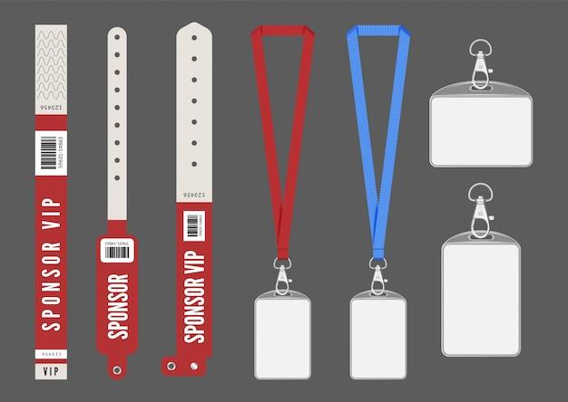 Mockup di badge. braccialetti con cordino cartellini rossi per carta d'identità. chiavi di ingresso per eventi