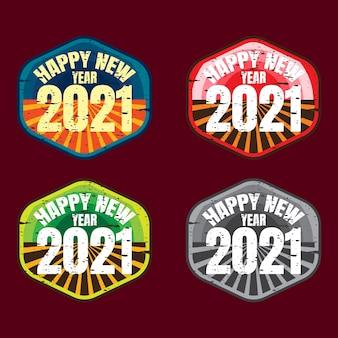 Badge pack di felice anno nuovo Vettore Premium