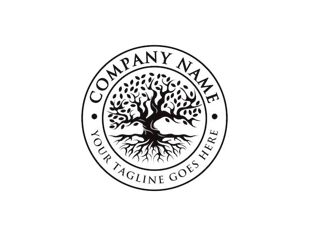 Distintivo, sigillo, emblema vintage albero della vita logo, vecchio logo albero di quercia, vecchio grande albero con il logo della radice