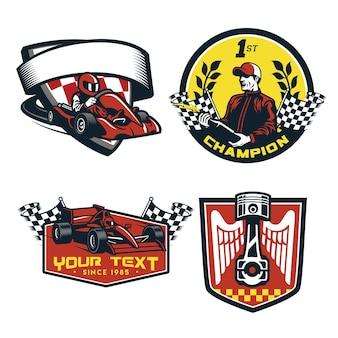 Insieme del distintivo dell'illustrazione piana della macchina da corsa di formula