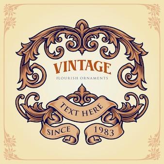 Badge vintage flourish label ornamenti illustrazioni