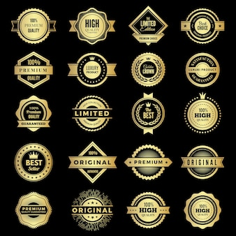 Collezione di distintivi. loghi o badge di garanzia premium promo di alta qualità a forma di vettore. etichetta badge premium, garanzia e migliore illustrazione dell'emblema
