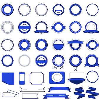 Badge, etichette e adesivi senza testo sulla vendita al dettaglio. progettato in blu