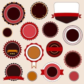 Badge, etichette e adesivi senza testo sulla vendita al dettaglio. progettato nei colori marroni.