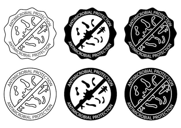 Badge per materiale con protezione antimicrobica e antivirale. prodotto di protezione antibatterica resistente ai microrganismi. cartello informativo sulla difesa del rivestimento antimicrobico. illustrazione vettoriale