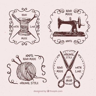 Badge set di disegnati a mano vintage couture Vettore Premium
