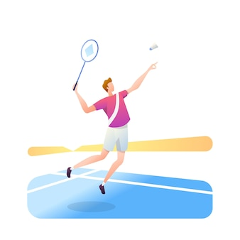 Atleti di badminton isolati su bianco