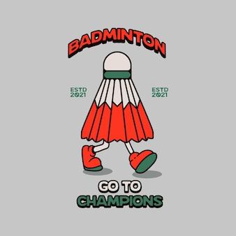 Personaggio da badminton con logo retrò vintage di gambe che camminano