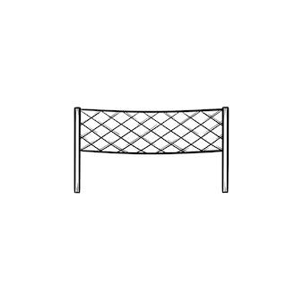 Icona di doodle di contorno disegnato a mano netto di badminton. reti sportive, attrezzatura da campo, concetto di competizione di badminton