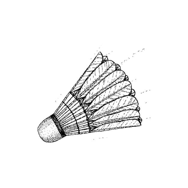 Badminton volano dotwork vettore. illustrazione di schizzo disegnato a mano del tatuaggio.