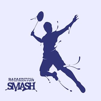 Silhouette di splash smash volano di badminton