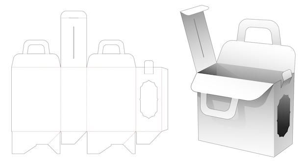 Scatola per borsa con maniglia e modello fustellato per finestra laterale