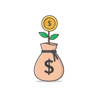 Borsa per i soldi del dollaro con illustrazione dell'icona dell'albero dei soldi. icona piana dell'albero dei soldi