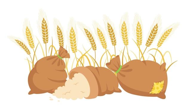 Farina di borsa e spighe di grano, composizione di cartone animato farina di mucchio, spighette di grano d'oro produzione di farina agricola del raccolto
