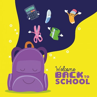 Borsa e set di icone per cartoni animati, lezione di educazione alla scuola