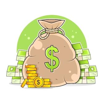 Borsa di soldi. un talismano che porta fortuna e prosperità. Vettore Premium