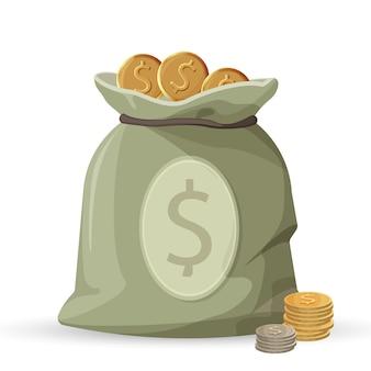 Sacco di soldi con monete d'oro e d'argento isolato su sfondo bianco