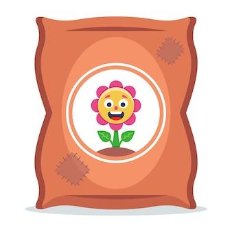 Un sacchetto di fertilizzanti per piante. illustrazione vettoriale piatto.