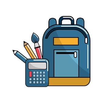 Icona di strumenti borsa e scuola