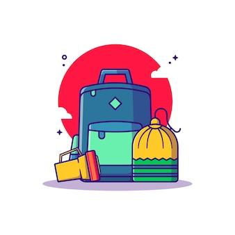 Illustrazione del fumetto di borsa e torcia