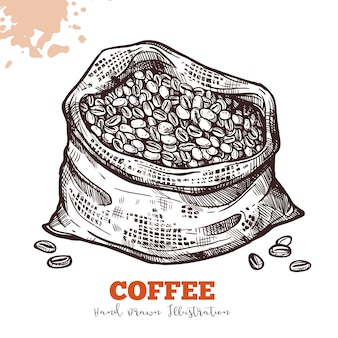 Borsa con chicchi di caffè in stile incisione