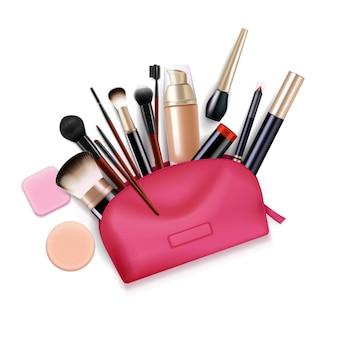 Borsa con composizione realistica di cosmetici con vista dall'alto della custodia da toeletta rosa con illustrazione di eyeliner pennelli applicatore