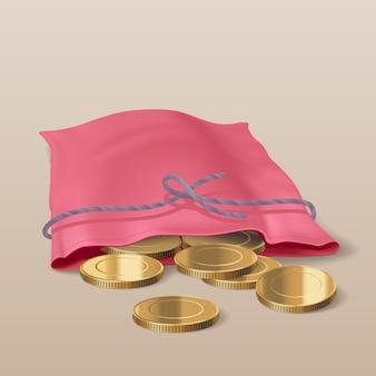 Borsa con l'illustrazione delle monete dorate