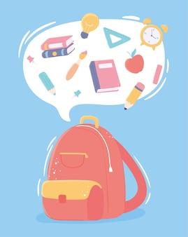 Borsa con materiale scolastico