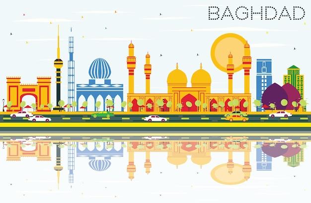 Orizzonte di baghdad con edifici di colore, cielo blu e riflessi. illustrazione di vettore. viaggi d'affari e concetto di turismo con edifici storici. immagine per presentazione banner cartellone e sito web.