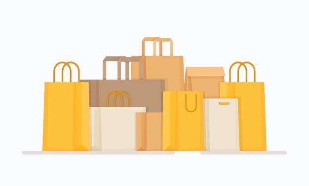 Borse di diverse forme e colori. illustrazione degli acquisti da internet. merce pronta per la spedizione. acquisti online.