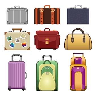 Borse - insieme isolato realistico di vettore moderno di oggetti su priorità bassa bianca. valigie e borse colorate di diverse forme, forme e materiali.